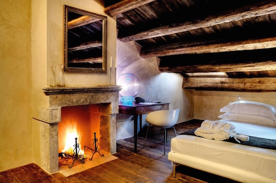 Fireplace in a simple room